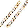 7mm Men's 14K Tricolor Gold Nugget Oval Cuban Link Bracelet 8in