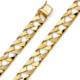 Men S 10mm 14k Yellow Gold Nugget Square Cuban Link Bracelet 8 5in