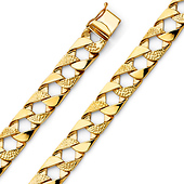 Men's 10mm 14K Yellow Gold Nugget Square Cuban Link Bracelet 8.5in