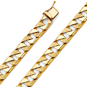 Men's 10mm 14K Yellow Gold Carved Square Cuban Link Chain Bracelet 8.5in