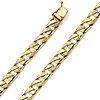 7mm Men's 14K Yellow Gold Nugget Oval Curb Cuban Link Chain Bracelet 8in