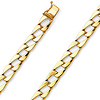 8mm Men's 14K Yellow Gold Square Curb Cuban Link Chain Bracelet 8in