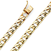 8mm Men's 14K Yellow Gold Oval Curb Cuban Link Chain Bracelet 8in