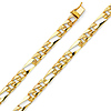 6mm Men's 14K Yellow Gold Oval Nugget Figaro Chain Bracelet 7in