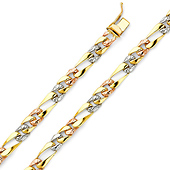 6mm Men's 14K Tricolor Gold Oval Nugget Figaro Chain Bracelet 7in