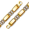 Men's 12mm 14K Two-Tone Gold Fancy Rectangle Rod Link Bracelet 8in