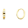 Button Design Oval Polished 14K Two-Tone Gold Huggie Earrings 2mm x 10mm