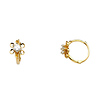 Flower Design Cubic Zirconia Huggie Hoop Earrings - 14K Yellow Gold