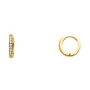 Mini Milgrain Endless CZ Huggie Hoop Earrings - 14K Yellow Gold 1mm x 0.3 inch