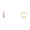 Pink CZ Channel-Set 14K Yellow Gold Huggie Earrings - 2mm x 10mm