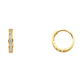 14K Yellow Gold Round CZ Huggie Earrings 3mm x 13mm
