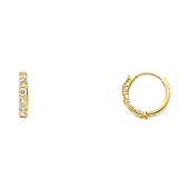 6-Stone 14K Yellow Gold CZ Huggie Earrings 2mm x 12mm