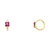 14K Yellow Gold Flower Purple Prong CZ Huggie Earrings