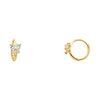14K Yellow Gold Butterfly Clear CZ Huggie Earrings