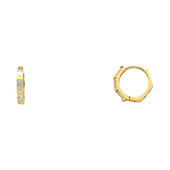 14K Yellow Gold Baguette CZ Huggie Earrings