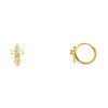 14K Yellow Gold Bold Open Cross CZ Huggie Earrings