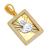 14k Two-Tone Gold CZ St. Jude Religious Medal Pendant