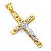 14k Two-Tone Gold Crucifix Cross Religious Pendant