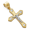 14K Two-Tone Gold Cross Religious Pendant