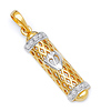 14K Two-Tone Gold Mezuzah Pendant with CZ Cubic Zirconia