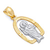 14K Two-Tone Gold Arched Halo San Judas Tadeo Pendant - Small