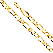 8.5mm 14K Yellow Gold Hollow Figaro 3+1 Bevel Chain Bracelet 8.5in