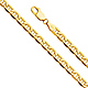 4.5mm 14k Yellow Gold Hollow Mariner Bevel Chain Necklace 20-24in thumb 0