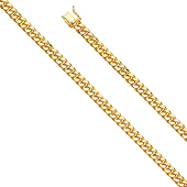 8mm 14K Yellow Gold Hollow Miami Cuban Chain Bracelet 8.5in