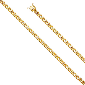 24d43b2fd830b 5.5mm 14k Yellow Gold Hollow Miami Cuban Chain Necklace 20-26in