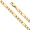4.5mm 14K Yellow Gold Figaro 3+1 Fancy White Pave Chain Bracelet 7.5in