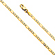 2.5mm 14K Yellow Gold Figaro 3+1 Fancy White Pave Chain Necklace 16-24in thumb 0