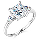 3-Stone Pear & 1.75-CT Princess-Cut CZ Engagement Ring in 14K White Gold thumb 0