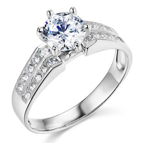 2-Row Side Pave & 1-CT Round-Cut CZ Engagement Ring in 14K White Gold