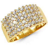 Fancy 5-Row Round Cubic Zirconia CZ Ring Band in 14K Yellow Gold