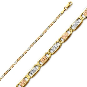 2mm 14K Tricolor Gold Pave Valentino Chain Necklace 1624in