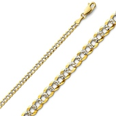 3mm 14K Two Tone Gold White Pave Curb Cuban Link Chain Necklace 16-24in