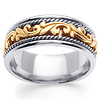 14K Two Tone Gold 9mm Art Deco Wedding Band