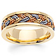 7mm Tricolor Braided Rope Men's Wedding Band - 14K Yellow Gold thumb 0