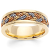 7mm Tricolor Braided Rope Men's Wedding Band - 14K Yellow Gold