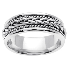 7mm Woven Cord Raised Braided Men's Wedding Band - 14K White Gold
