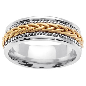 7mm Woven Cord Raised Yellow Braided Men's Wedding Band - 14K Two-Tone Gold
