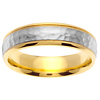 14K Two Tone Gold Milgrain 6mm Hammered Wedding Band