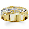 14K Two Tone Gold 5.5mm Hand-Carved Christian Wedding Band