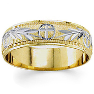 14k two tone gold 55mm hand carved christian wedding band - Christian Wedding Rings
