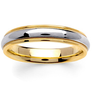 45mm domed milgrain 14k two tone gold wedding ring - Two Tone Wedding Rings