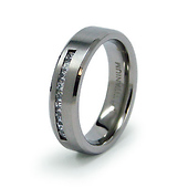 6mm Channel Set 9-Stone Princess-Cut CZ Titanium Wedding Band