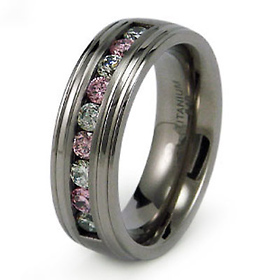 8mm Pink And White Cz Titanium Band At Goldenmine Com