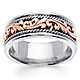 9mm Art Deco Rose Gold Flourish 14K Two Tone Wedding Ring for Men thumb 0