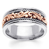 9mm Art Deco Rose Gold Flourish 14K Two Tone Wedding Ring for Men