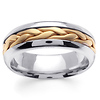7mm Unique Handmade Yellow Braided Wedding Band for Men - 14K Two-Tone Gold